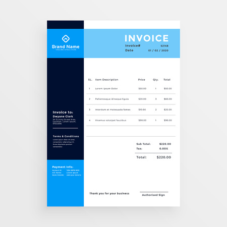 professional business invoice template design in blue color Stock fotó - 97033432