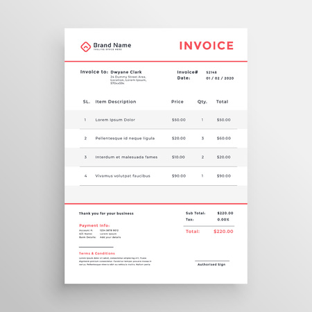minimal business invoice template design Ilustração
