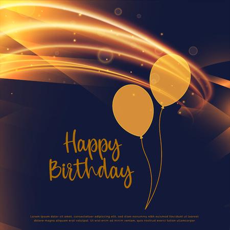 Shiny golden happy birthday card design with light streak Illustration