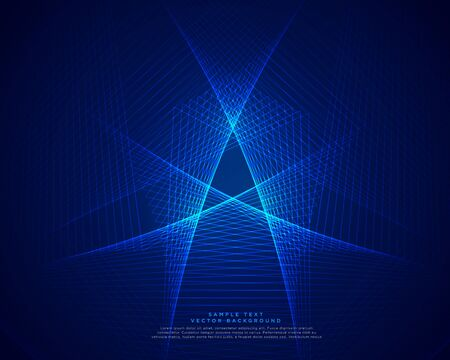 blue technology abstract lines background Çizim