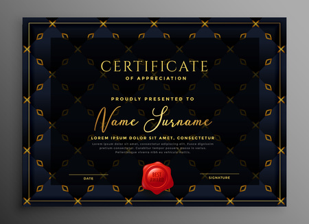 dark luxury certificate template design Stock Illustratie