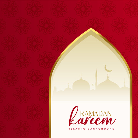 red islamic ramadan kareem background with mosque door
