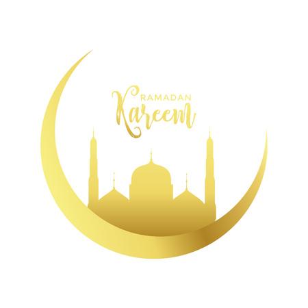 golden moon and mosque design for ramadan kareem season Illustration