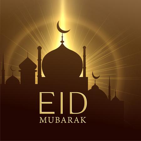 mosque with glowing light, eid mubarak greeting