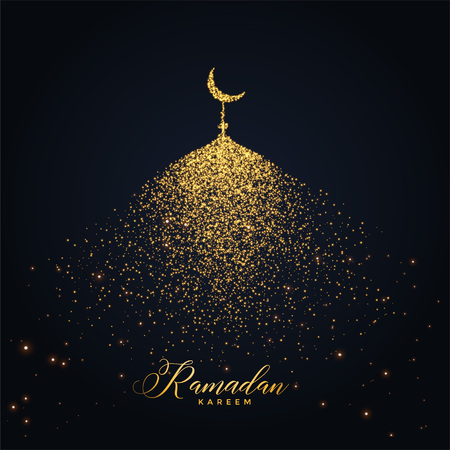 ramadan kareem design with mosque made with glowing particles Illustration