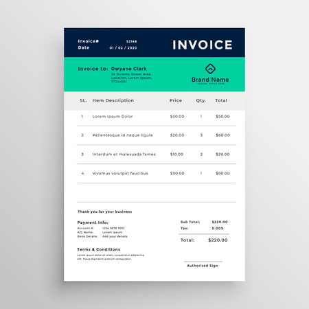 modern minimal invoice template vector design