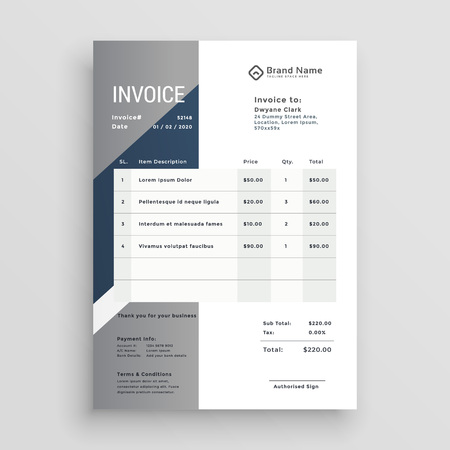 business invoice vector template design