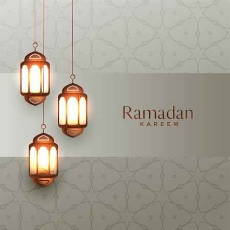 arabic ramadan kareem background with hanging lanterns Illustration