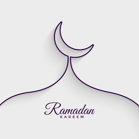 mosque made with line ramadan kareem background