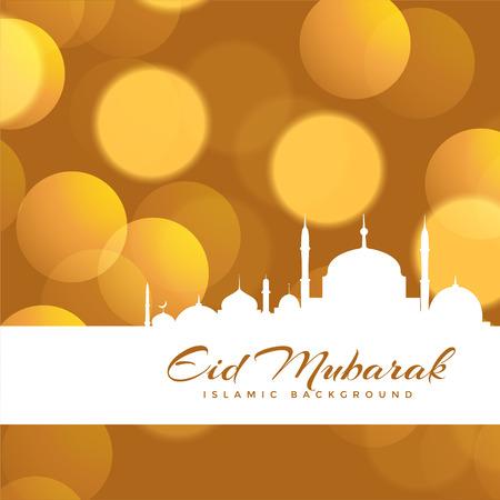Beautiful eid mubarak bokeh background design