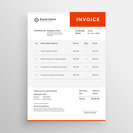 Clean simple invoice template design