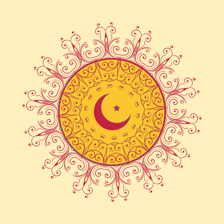 islamic decorative background with moon and star Illustration