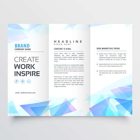 abstract blue triangle trifold brochure design Иллюстрация