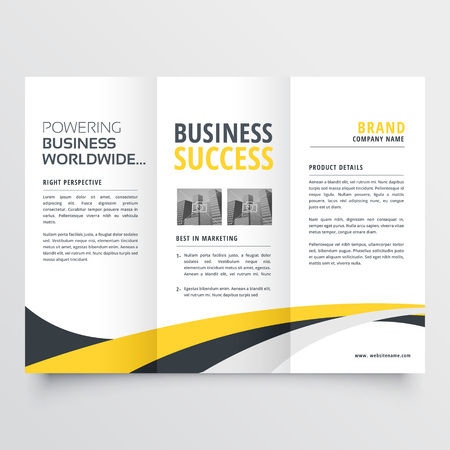 abstract modern wavy trifold brochure design background