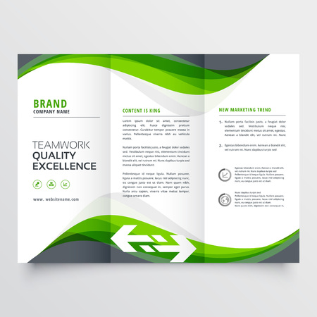 professional creative green wavy trifold brochure design