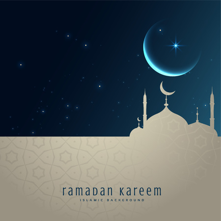 beautiful night scene with mosque and moon, ramadan kareem greeting Vector illustration.
