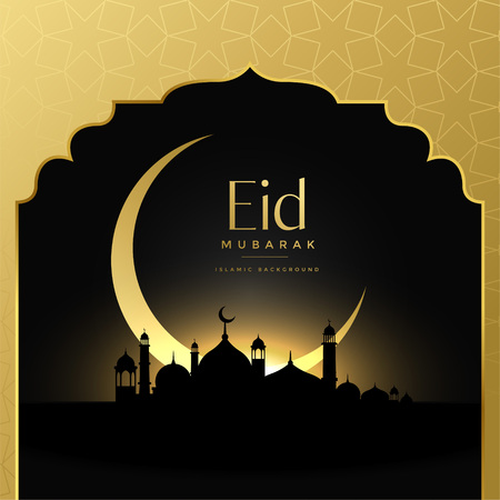 beautiful eid mubarak golden scene background