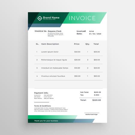 professional green geometric invoice template design Ilustração