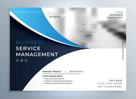 blue wavy business brochure or magazine cover page template