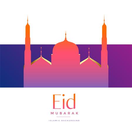 vibrant beautiful mosque for eid mubarak festival Illustration