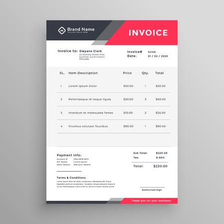 invoice creative modern invoice template design Ilustração