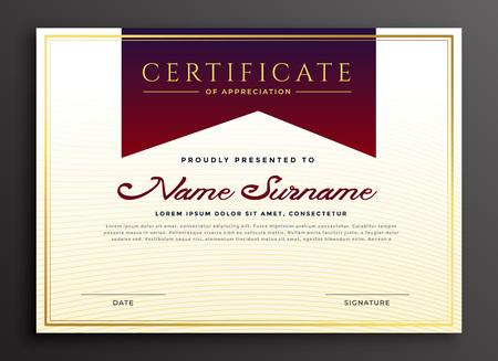 modèle d'entreprise de certificat d'appréciation