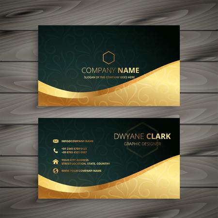 diseño de tarjeta de visita dorada de lujo Ilustración de vector