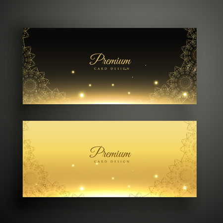 black and golden ornamental decoration banners Illusztráció