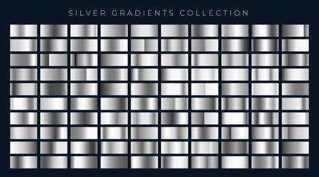 big set of silver or platinum gradients Illustration