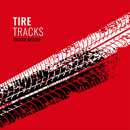 red background with tire tracks mark