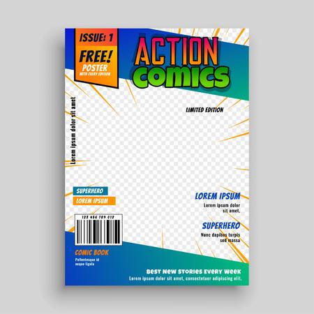 action comic book cover page design Ilustração