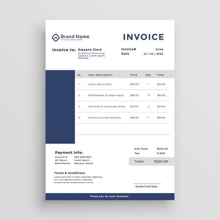 blaues Design der Kundenrechnungsvorlage
