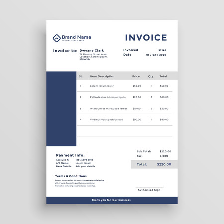 blue customer invoice template design