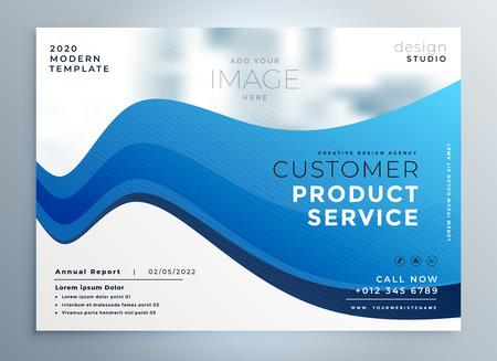professional blue wave business brochure design