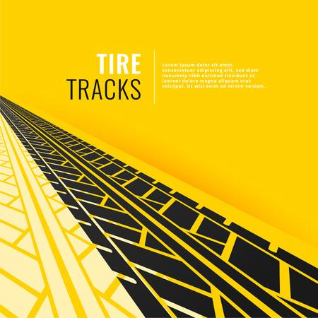 tire tracks in perspective om yellow background Illusztráció