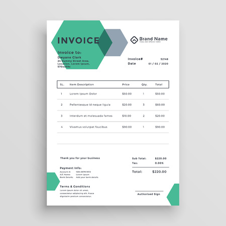 invoice template design with modern hexagonal shape