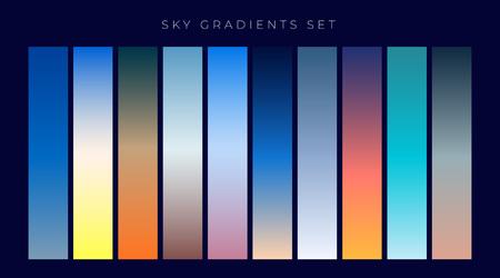 set of sky gradients background