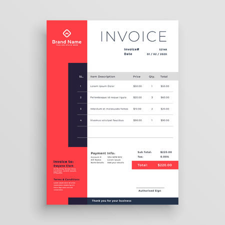 red business invoice template design