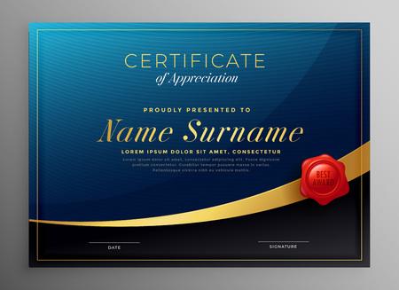 disegno del modello di certificato blu scuro