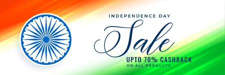 happy independence day sale banner in tricolor
