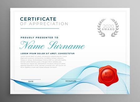 stylish blue certificate of appreciation template Vector Illustration