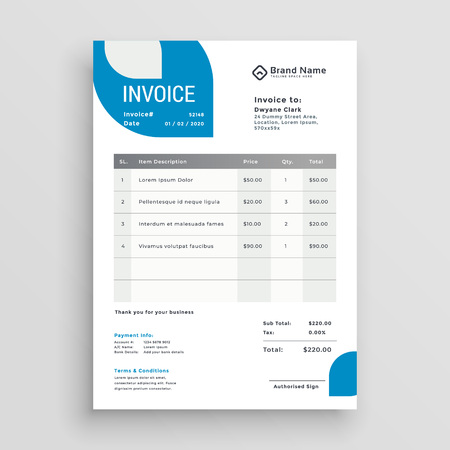 blue business invoice template design