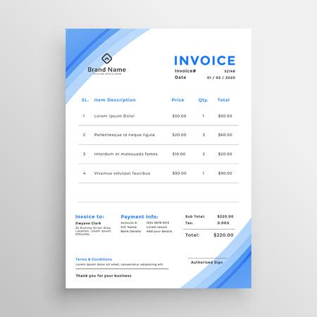 minimal blue invoice template design