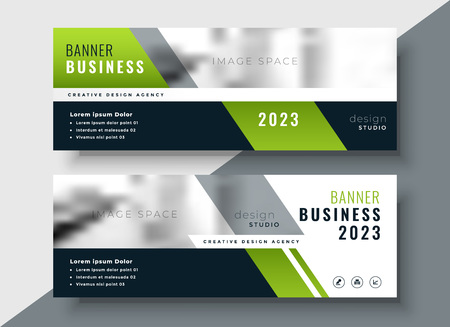 green geometric business banner with image space Vector Illustration
