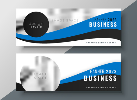 blue wavy business banner design