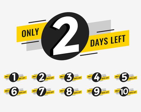 Banner promocional con el número de días restantes. Ilustración de vector