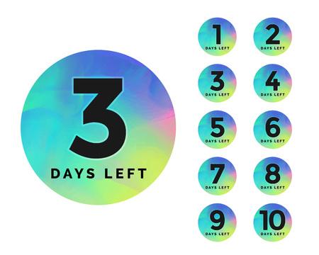 conception élégante du badge du nombre de jours restants