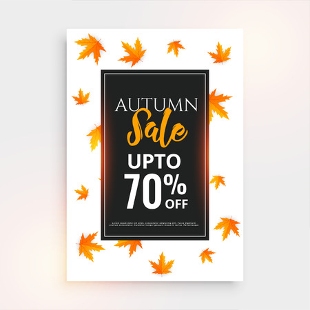 promotional autumn sale flyer design with text space Illustration