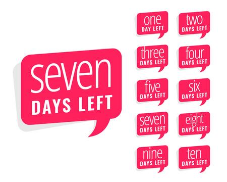 número de días que quedan diseño de calcomanías para la venta y promoción.