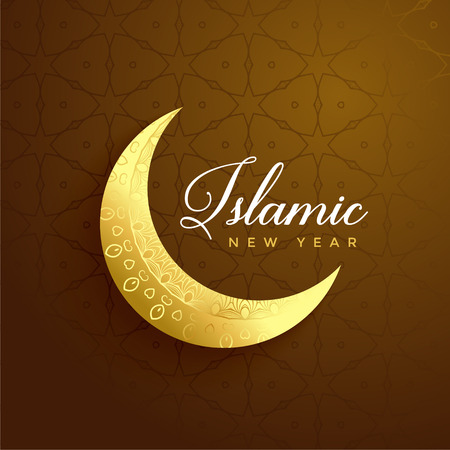 islamic new year design with golden moon